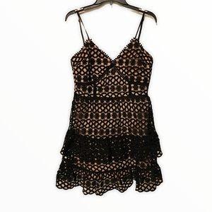 Black Lace OverlayThin Strap Ruffle Tiered Dress